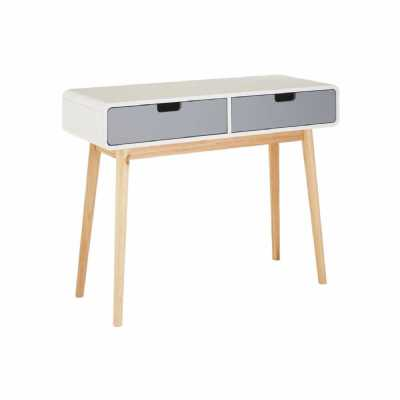 Nordic Grey and White Milo 2 Drawer Console Hall Table Small Desk