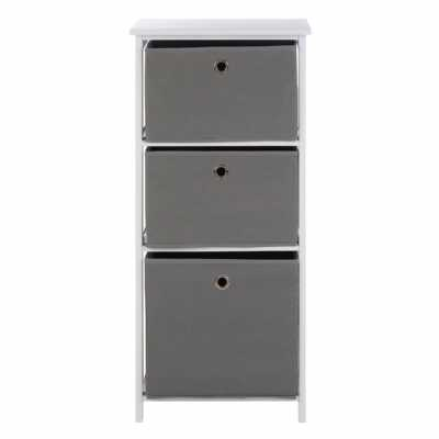 Contemporary Lindo 3 White And Grey Fabric Drawers Cabinet