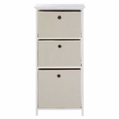 Contemporary Lindo 3 White And Natural Fabric Drawers Cabinet