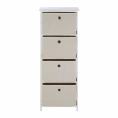 Contemporary Lindo 4 White And Natural Fabric Drawers Cabinet