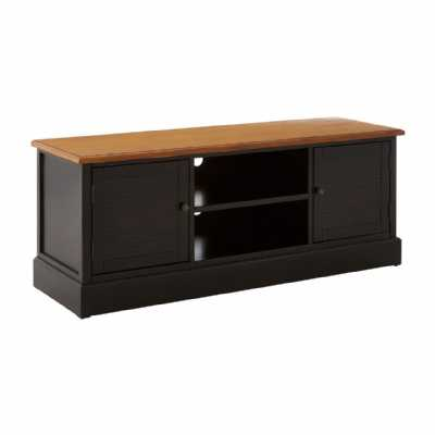 Contemporary Virginia Black Painted Wood Large Low Cabinet Media Unit