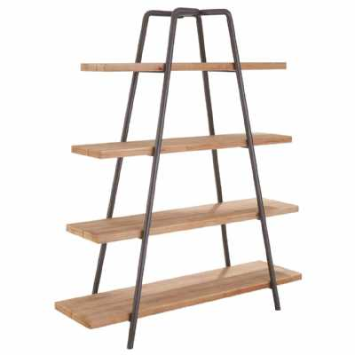 Urban Style Trinity A Shaped Iron Framed Fir Wooden 4 Tier Shelf Unit