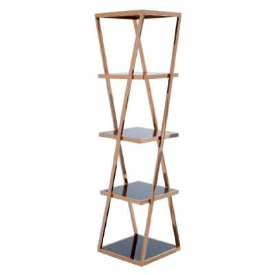 Contemporary Ackley 5 Tier Book Shelf Unit With Rose Gold Metal Frame