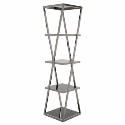 Contemporary Ackley 5 Tier Book Shelf Unit With Chrome Metal Frame
