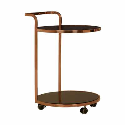 Ackley 2 Tier Gold Finish Drinks Trolley