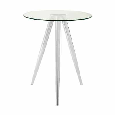 Modern Barton Round Silver Metal Tapered Legs Bar Table with Glass Top