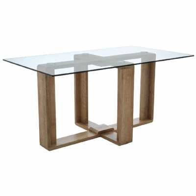 Barton Large Clear Tempered Glass Dining Table On Natural Veneer Legs
