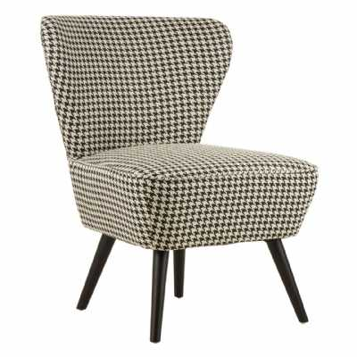 Daxton Large Black White Fabric Wingback Chair Dogtooth Patterned