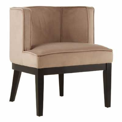 Daxton Light Brown Velvet Padded Rounded Chair with Piped Detailing