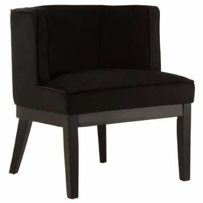 Daxton Black Velvet Rounded Chair Padded Seat with Piped Detailing
