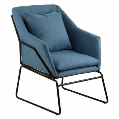 Modern Scandi Stockholm Blue Fabric Armchair with Black Metal Frame