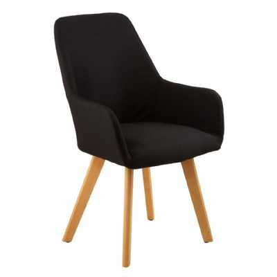 Contemporary Stockholm Black Fabric Leisure Accent Chair On Wood Legs