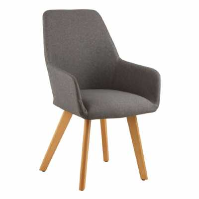 Contemporary Stockholm Grey Fabric Leisure Accent Chair On Wood Legs