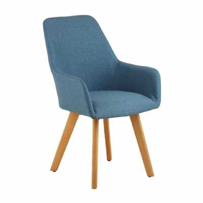 Contemporary Stockholm Blue Fabric Leisure Accent Chair On Wood Legs