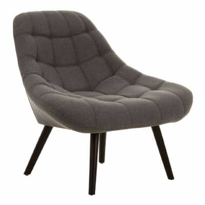 Contemporary Stockholm Grey Faux Linen Chair On Black Hardwood Legs