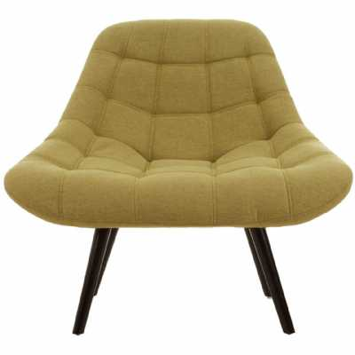 Contemporary Stockholm Green Faux Linen Chair On Black Hardwood Legs