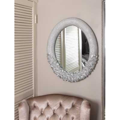Silver Embossed Tiber Wall Mirror with Cast Rose Detail