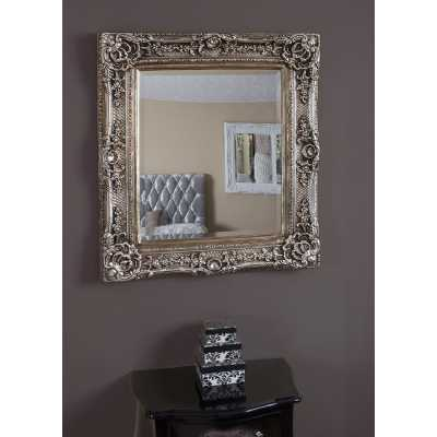 Caens Wall Mirror with Baroque Style Ornamental Silver Frame 75x84 cm