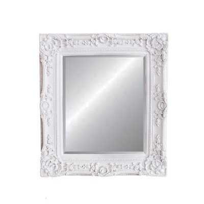 Caens Wall Mirror with Baroque Style Ornamental White Frame 75x84 cm