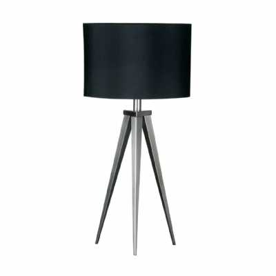 Satin Nickel Finished Tripod Feature Lamp with Black Shade
