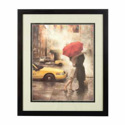 Framed Couple Under Umbrella Wall Art