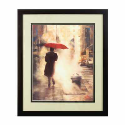 Framed Man Under Umbrella Wall Art
