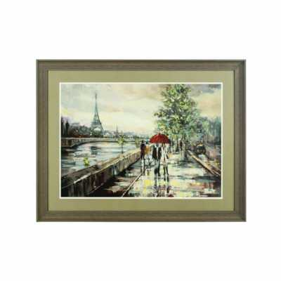 Vintage Light Brown Framed Paris Eiffel Tower Background Wall Art