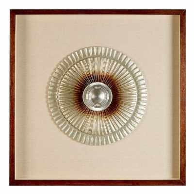 Modern Square MDF Framed Silver Bronze Finish Round Carving Wall Art