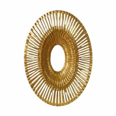 Oval Gold Finished Modern Art Wall Sculpture