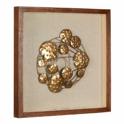 Modern Square Bronze Finish Abstract Decorative Wall Art in Frame