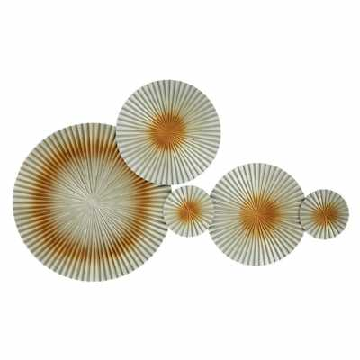 Modern Abstract Discs Gold Wall Hanging Sculpture