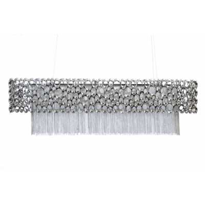 Nickel Rectangular Chandelier Pendant Ceiling Light Traditional Style