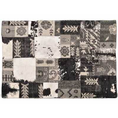 Burkina Black Grey Rug Aztec Patchwork 160X230cm