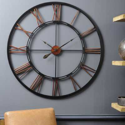 Copper Black Finish Oversized Metal Skeletal Round Wall Clock 100cm Diameter
