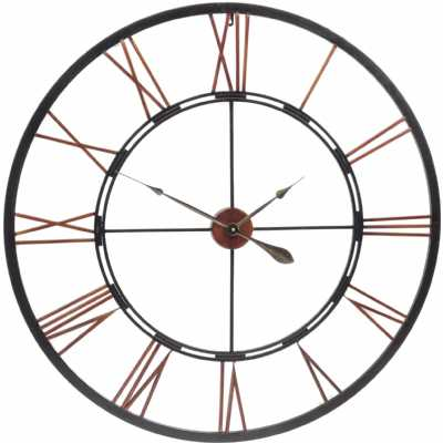 Copper Black Finish Oversized Metal Skeletal Round Wall Clock 100cm