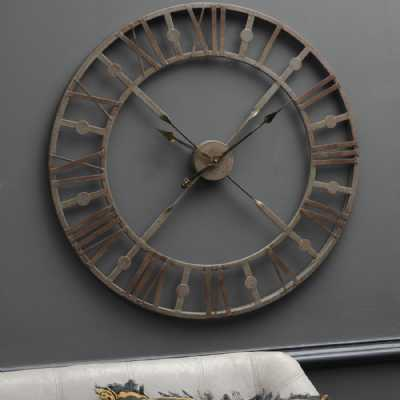 Antique Grey Round Metal Skeleton Industrial Wall Clock with Roman Numerals 73cm Diameter