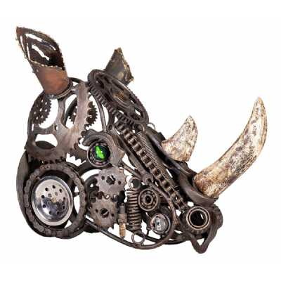 Recycled Industrial Steampunk Retro Wrought Iron Small Rhinoceros Head Sculpture 39x41x24cm