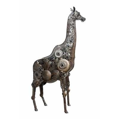 Industrial Style Steampunk Recycled Metal Rustic Finish Life Size Giraffe Sculpture