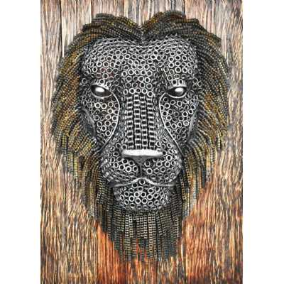 Recycled Metal Sculptures Intricate Detailed Lion Face on Wood 55x22x76cm