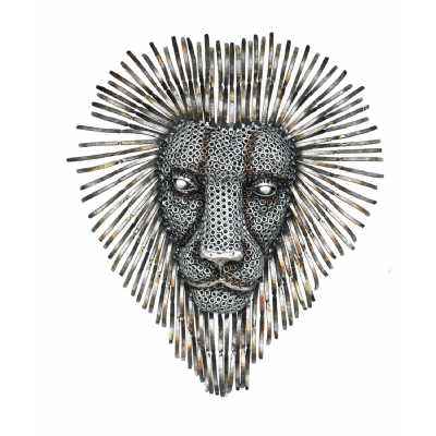 Recycled Metal Industrial Steampunk Retro Hand Crafted Lion Face Sculpture Wall Art 76x16x89cm