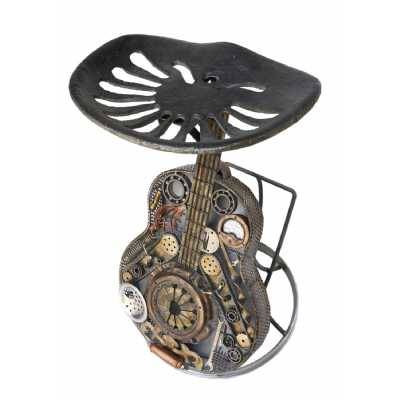 Funky Recycled Sculptures Wrought Iron Distressed Occasional Guitar Chair 47x47x76cm
