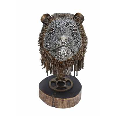 Recycled Silver And Bronze Finish Lion Head Sculpture With Natural Wood Stand
