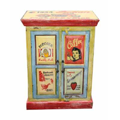 Circus Carnival Antique Vintage Multi Coloured Hand Painted Ad 2 Door Storage Cabinet