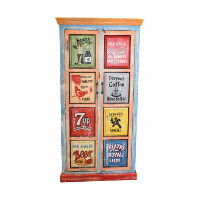Kids Circus Carnival Hand Painted Tall Vintage 2 Door Storage Toy Cupboard