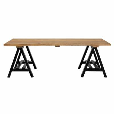 Hampstead Large Pine Wood and Black Iron Trestle Style Coffee Table