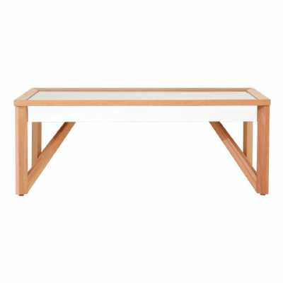 Modern Kensington Townhouse Large Natural Wood Mirrored Coffee Table