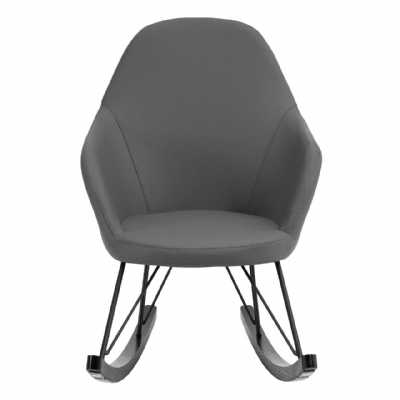 Scandi Kolding Dark Grey Faux Leather Rocking Chair with Metal Girders