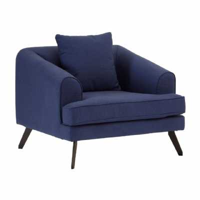 Vintage Mylo Navy Blue Fabric Armchair On Black Angled Metal Legs