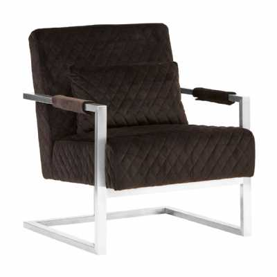 Modern Diamond Patterned Gatsby Black Fabric Velvet Chrome Armchair