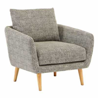 Modern Alto Natural Grey Fabric Armchair On Golden Pine Wood Legs